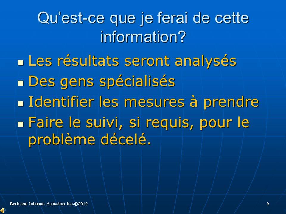 Quest-ce que je ferai de cette information? Les résultats seront analysés Les résultats seront analysés Des gens spécialisés Des gens spécialisés Iden