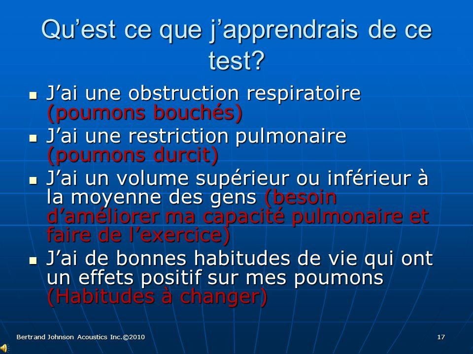 Quest ce que japprendrais de ce test? Jai une obstruction respiratoire (poumons bouchés) Jai une obstruction respiratoire (poumons bouchés) Jai une re
