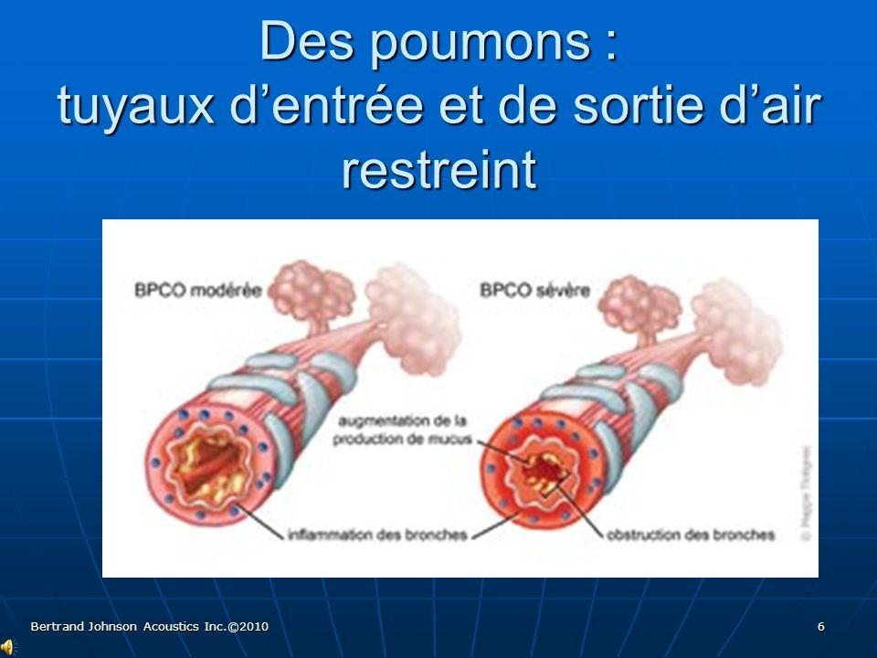 Des poumons souillés Poussières, fibres, contaminants Poussières, fibres, contaminants Bertrand Johnson Acoustics Inc.©2010 7