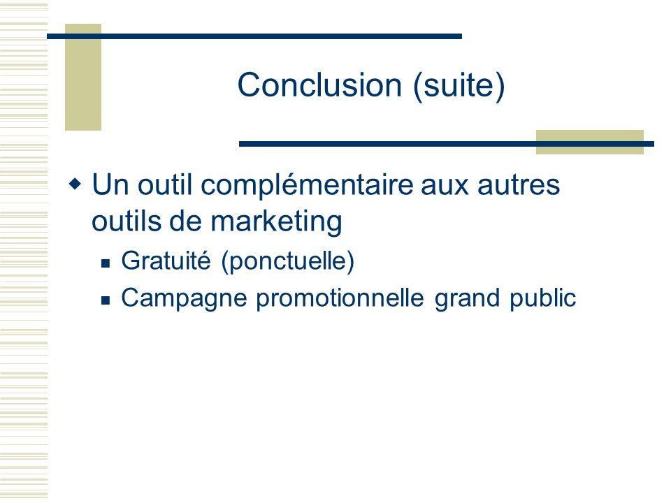 Conclusion (suite) Un outil complémentaire aux autres outils de marketing Gratuité (ponctuelle) Campagne promotionnelle grand public