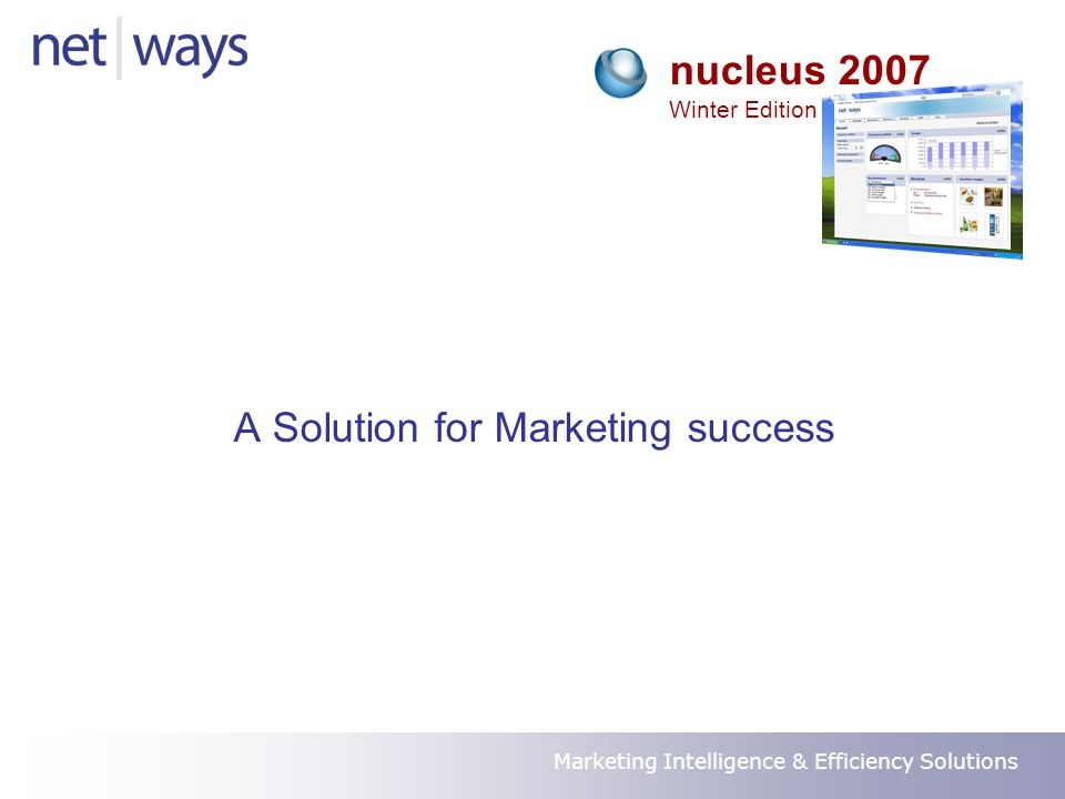 Marketing Intelligence & Efficiency Solutions nucleus 2007 Winter Edition A Solution for Marketing success