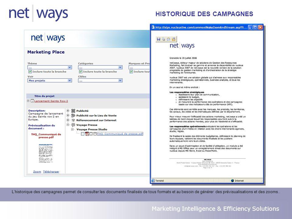 Marketing Intelligence & Efficiency Solutions Lhistorique des campagnes permet de consulter les documents finalisés de tous formats et au besoin de générer des prévisualisations et des zooms..