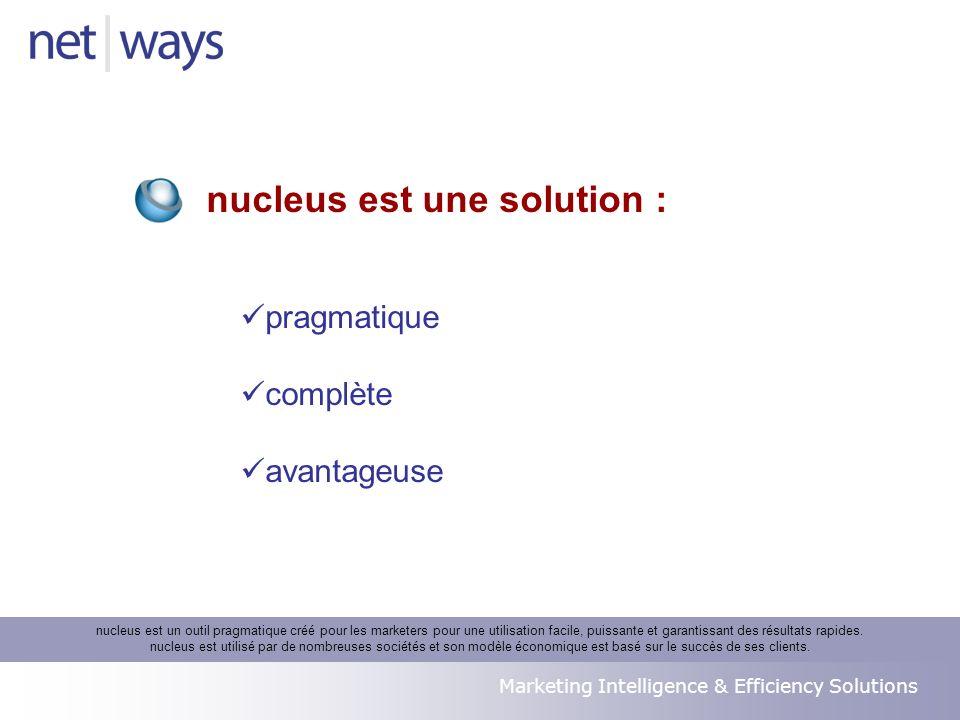 Marketing Intelligence & Efficiency Solutions pragmatique complète avantageuse nucleus est une solution : nucleus est un outil pragmatique créé pour les marketers pour une utilisation facile, puissante et garantissant des résultats rapides.