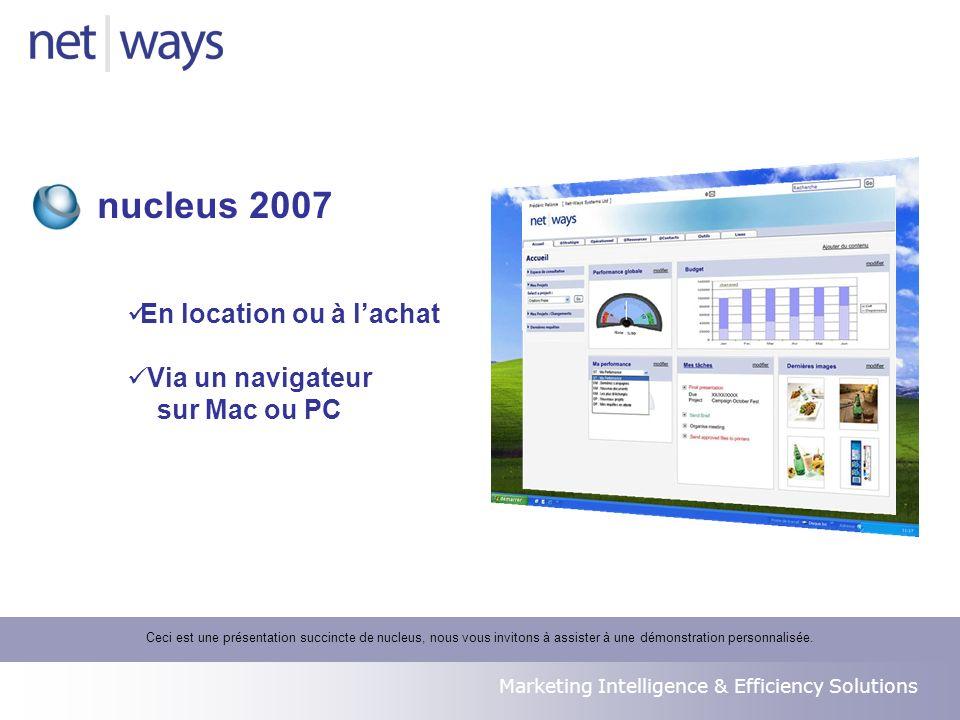 Marketing Intelligence & Efficiency Solutions En location ou à lachat Via un navigateur sur Mac ou PC nucleus 2007 Ceci est une présentation succincte de nucleus, nous vous invitons à assister à une démonstration personnalisée.