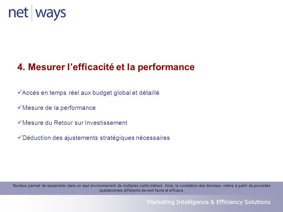 Marketing Intelligence & Efficiency Solutions Accès en temps réel aux budget global et détaillé Mesure de la performance Mesure du Retour sur Investis