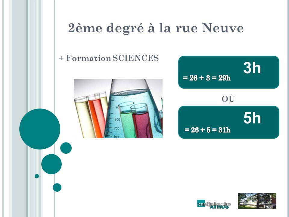 2ème degré à la rue Neuve + Formation SCIENCES 3h 5h OU