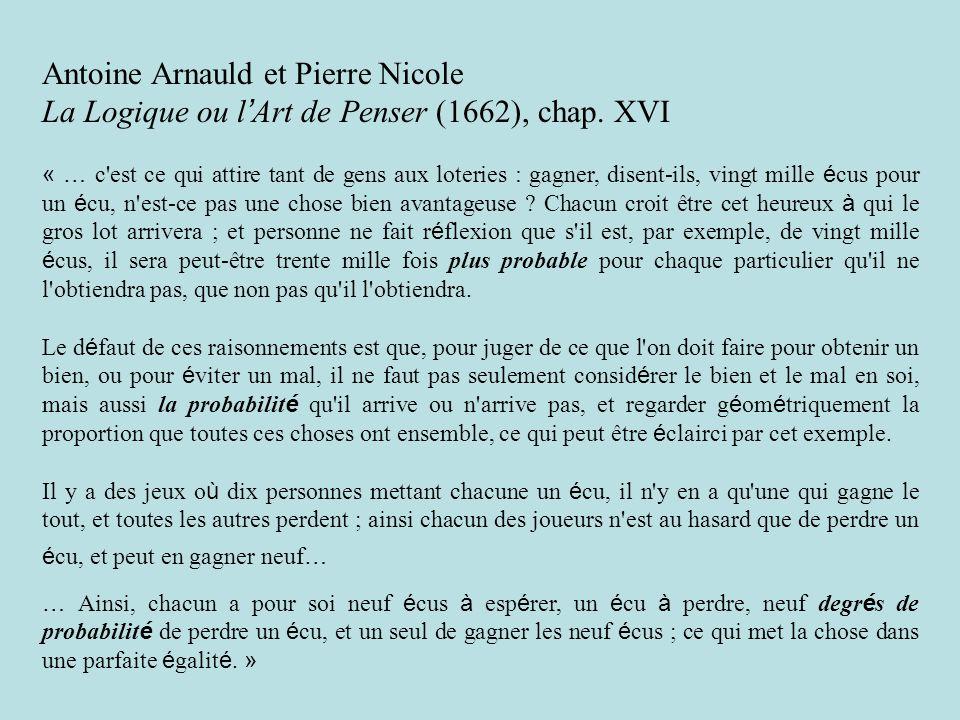 Antoine Arnauld et Pierre Nicole La Logique ou l Art de Penser (1662), chap.