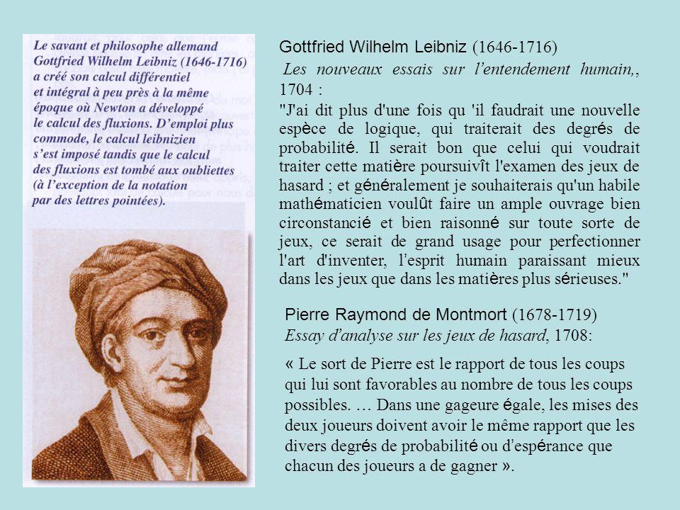 Gottfried Wilhelm Leibniz (1646-1716) Les nouveaux essais sur l entendement humain,, 1704 : J ai dit plus d une fois qu il faudrait une nouvelle esp è ce de logique, qui traiterait des degr é s de probabilit é.