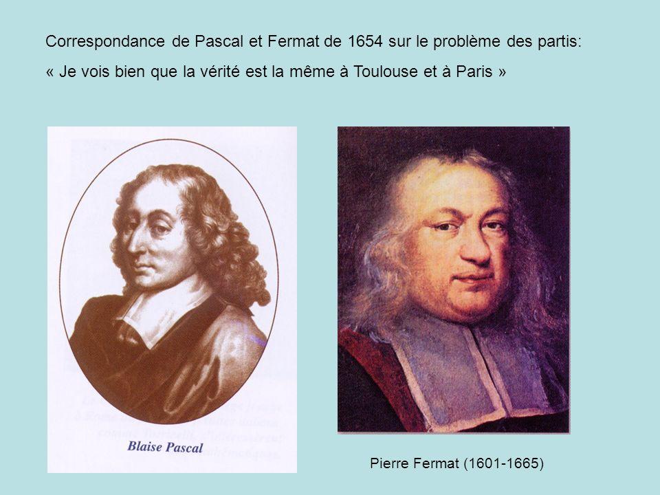 Correspondance de Pascal et Fermat de 1654 sur le problème des partis: « Je vois bien que la vérité est la même à Toulouse et à Paris » Pierre Fermat (1601-1665)