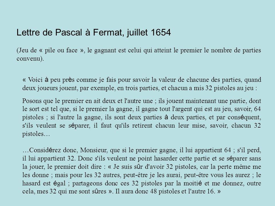 Lettre de Pascal à Fermat, juillet 1654 (Jeu de « pile ou face », le gagnant est celui qui atteint le premier le nombre de parties convenu).