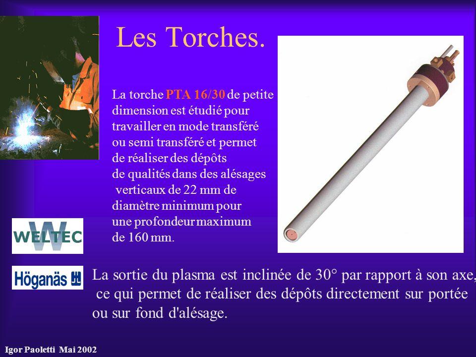 Igor Paoletti Mai 2002 Les Torches. La sortie du plasma est inclinée de 30° par rapport à son axe, ce qui permet de réaliser des dépôts directement su