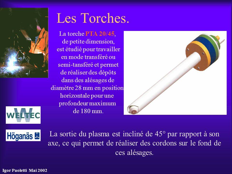 Igor Paoletti Mai 2002 Les Torches. La sortie du plasma est incliné de 45° par rapport à son axe, ce qui permet de réaliser des cordons sur le fond de