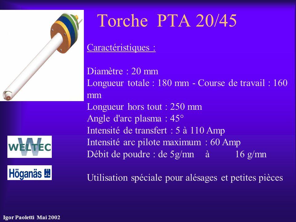 Igor Paoletti Mai 2002 Torche PTA 20/45 Caractéristiques : Diamètre : 20 mm Longueur totale : 180 mm - Course de travail : 160 mm Longueur hors tout :