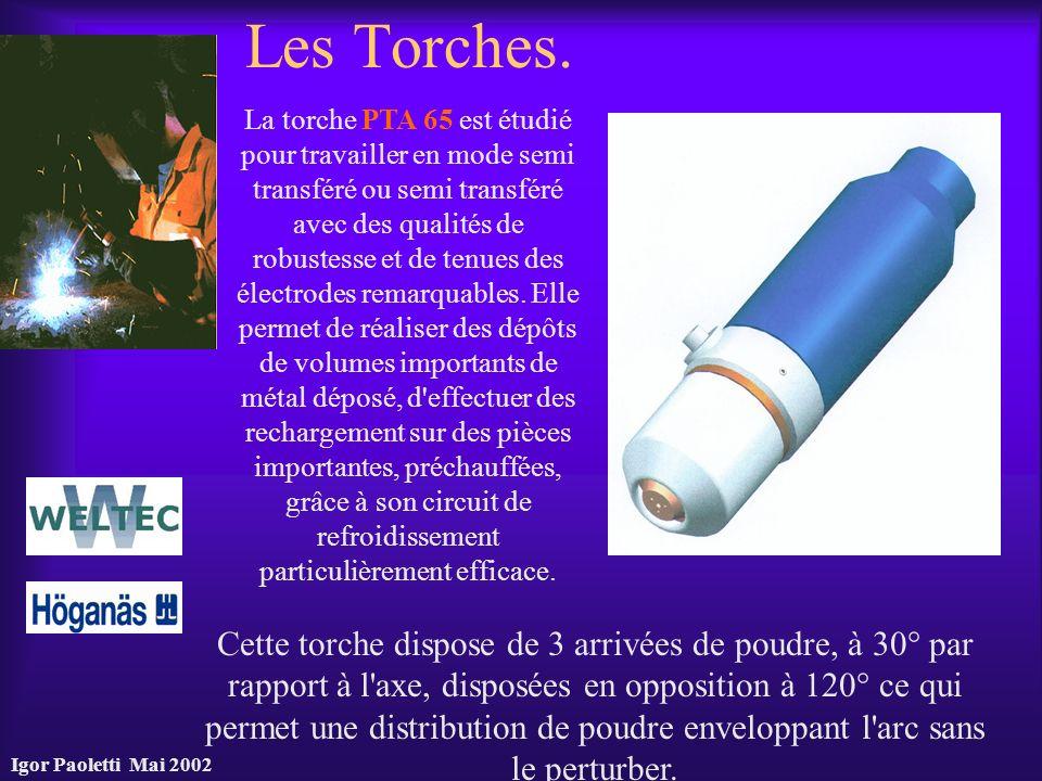 Igor Paoletti Mai 2002 Les Torches. Cette torche dispose de 3 arrivées de poudre, à 30° par rapport à l'axe, disposées en opposition à 120° ce qui per