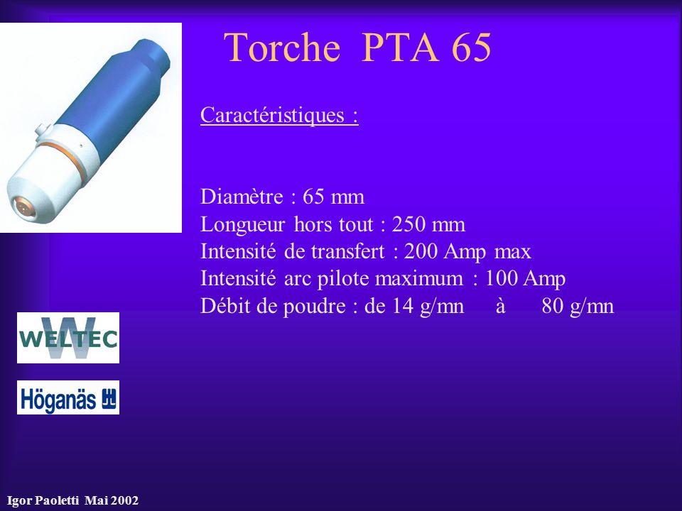 Igor Paoletti Mai 2002 Torche PTA 65 Caractéristiques : Diamètre : 65 mm Longueur hors tout : 250 mm Intensité de transfert : 200 Amp max Intensité ar