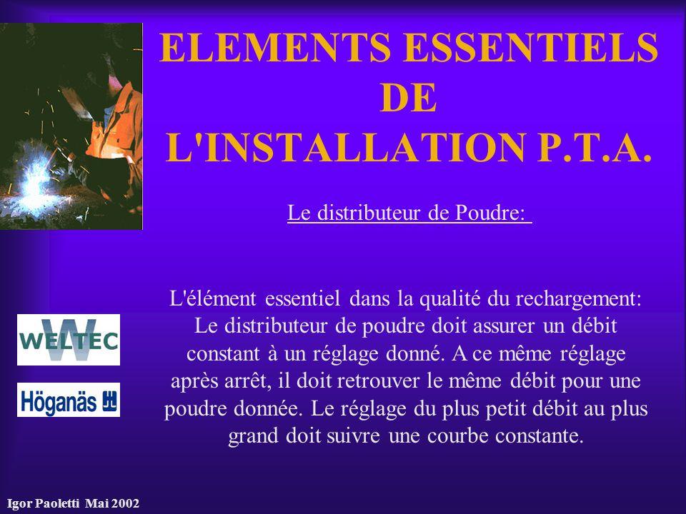 Igor Paoletti Mai 2002 ELEMENTS ESSENTIELS DE L'INSTALLATION P.T.A. Le distributeur de Poudre: L'élément essentiel dans la qualité du rechargement: Le