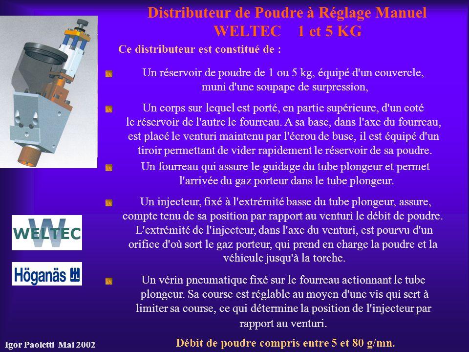Igor Paoletti Mai 2002 Distributeur de Poudre à Réglage Manuel WELTEC 1 et 5 KG Ce distributeur est constitué de : Un réservoir de poudre de 1 ou 5 kg