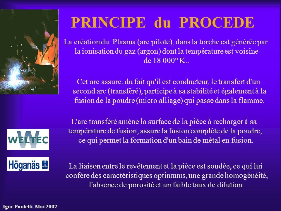 Igor Paoletti Mai 2002 PRINCIPE du PROCEDE La création du Plasma (arc pilote), dans la torche est générée par la ionisation du gaz (argon) dont la tem
