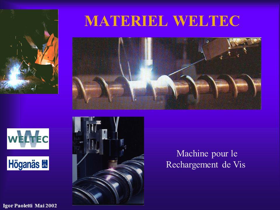 Igor Paoletti Mai 2002 MATERIEL WELTEC Machine pour le Rechargement de Vis