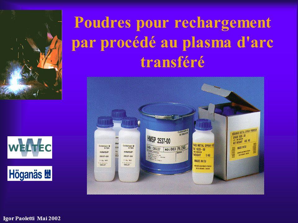 Igor Paoletti Mai 2002 Poudres pour rechargement par procédé au plasma d'arc transféré