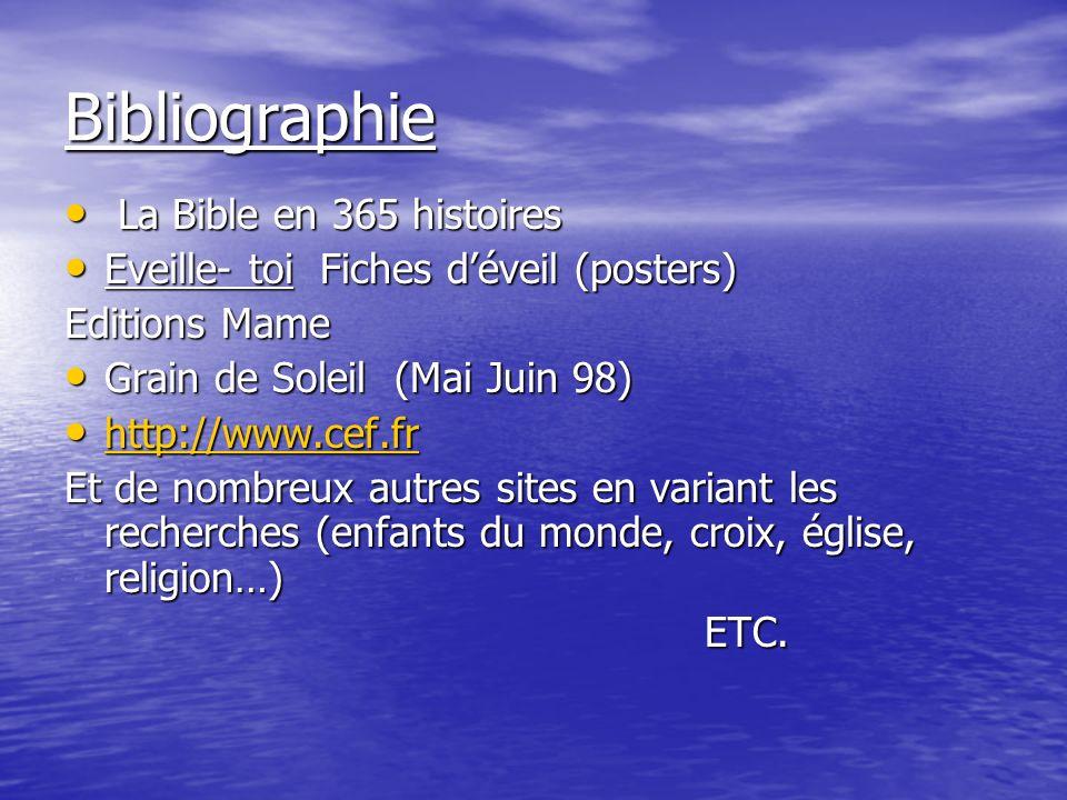Bibliographie La Bible en 365 histoires La Bible en 365 histoires Eveille- toi Fiches déveil (posters) Eveille- toi Fiches déveil (posters) Editions M