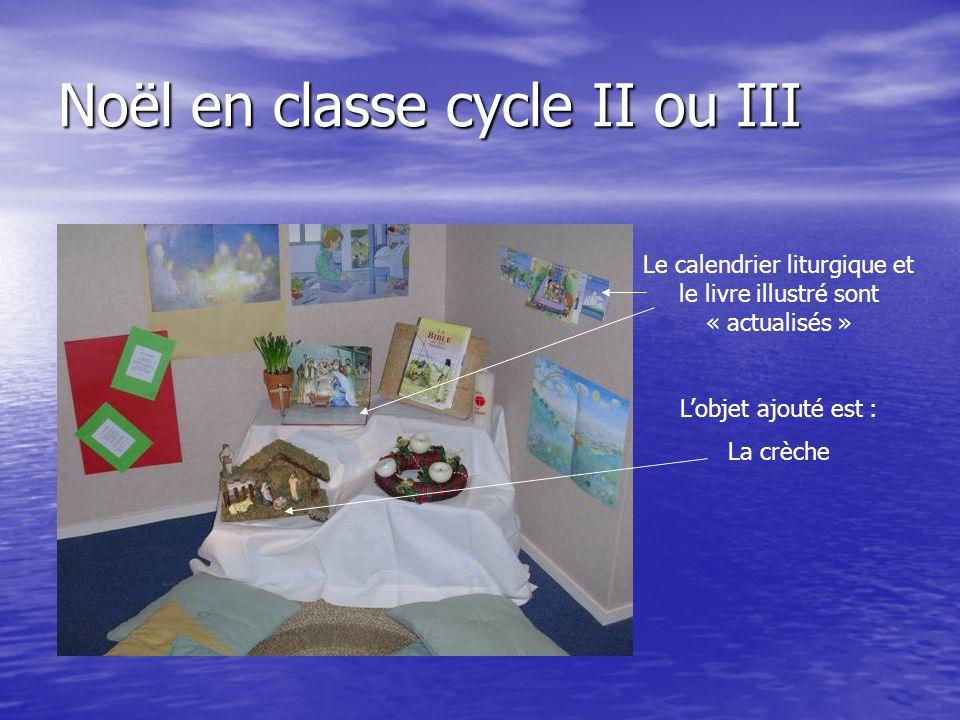 Noël en classe cycle II ou III Le calendrier liturgique et le livre illustré sont « actualisés » Lobjet ajouté est : La crèche