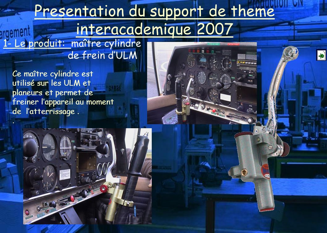 1- Le produit: maître cylindre de frein dULM Presentation du support de theme interacademique 2007 Ce maître cylindre est utilisé sur les ULM et planeurs et permet de freiner lappareil au moment de latterrissage..