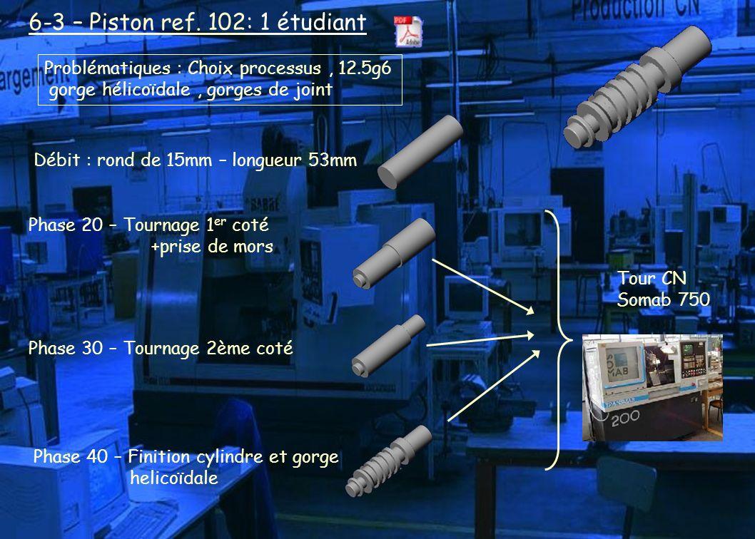 6-3 – Piston ref. 102: 1 étudiant Débit : rond de 15mm – longueur 53mm Phase 20 – Tournage 1 er coté +prise de mors Phase 30 – Tournage 2ème coté Phas