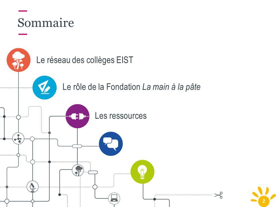 2 Le réseau des collèges EIST Sommaire Le rôle de la Fondation La main à la pâte Les ressources