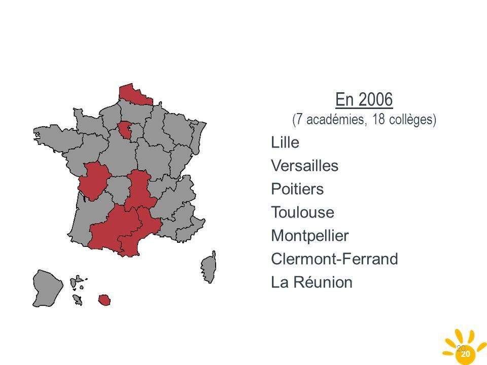 20 En 2006 (7 académies, 18 collèges) Lille Versailles Poitiers Toulouse Montpellier Clermont-Ferrand La Réunion 20