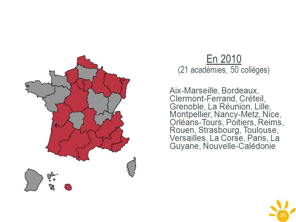 21 En 2010 (21 académies, 50 collèges) Aix-Marseille, Bordeaux, Clermont-Ferrand, Créteil, Grenoble, La Réunion, Lille, Montpellier, Nancy-Metz, Nice,