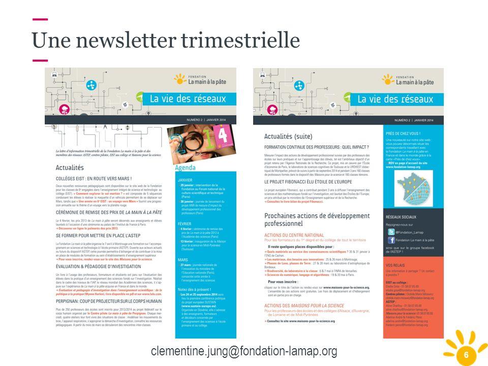 6 Une newsletter trimestrielle clementine.jung@fondation-lamap.org