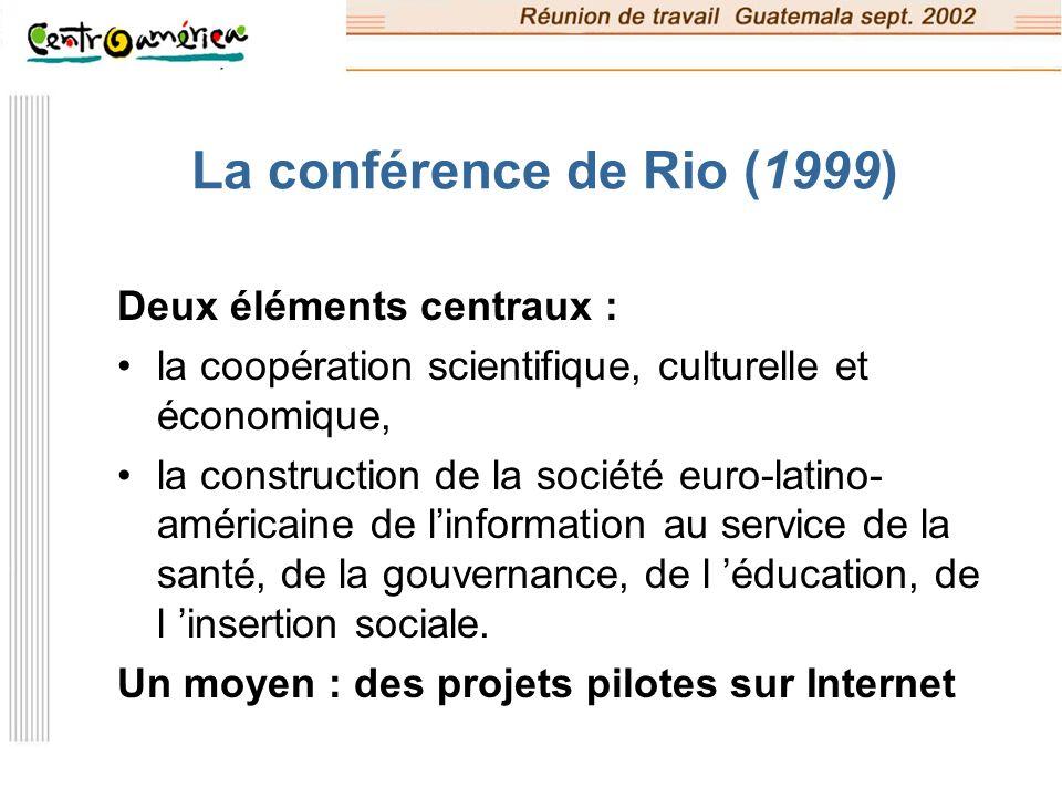 Un plan d action : ALIS ALIS : « ALliance pour la Société de l Information » une initiative globale de la Commission européenne pour le développement de la société de l information en Amérique latine (lancement en décembre 2001) L objectif principal : réduire les écarts entre les partenaires en matière de TIC