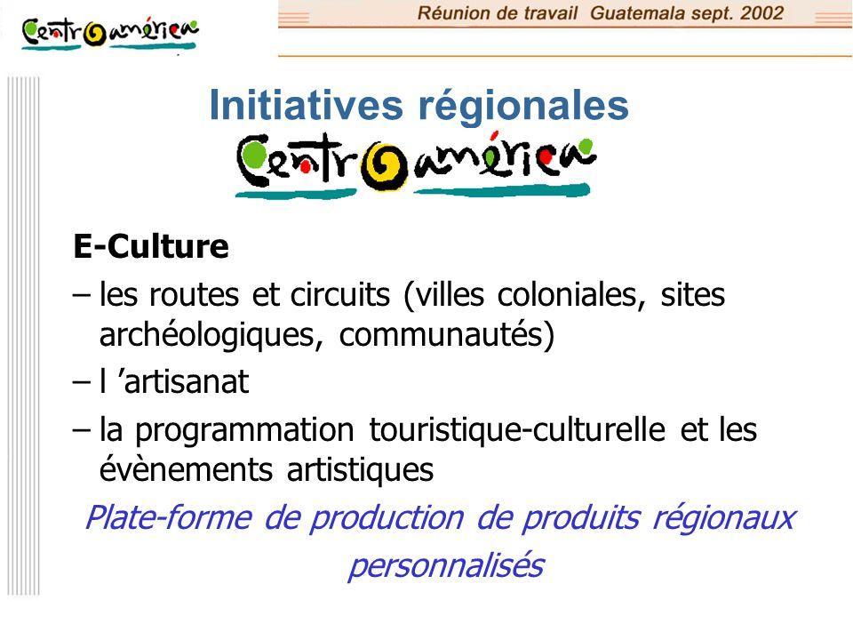 Initiatives régionales E-Tourisme –l élaboration d outils pour une qualité partagée –la commercialisation des produits réceptifs centre-américains de tourisme durable et équitable –formation des gestionnaires (avec l université d Aarhus)