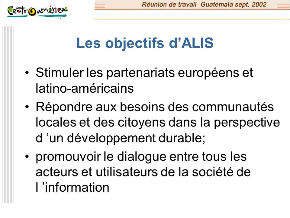 Les objectifs dALIS (suite) Augmenter les capacités d interconnexion entre communautés et chercheurs des deux régions Mettre en œuvre des applications issues de projets de démonstration