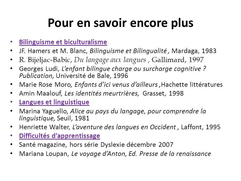 Pour en savoir encore plus Bilinguisme et biculturalisme JF. Hamers et M. Blanc, Bilinguisme et Bilingualité, Mardaga, 1983 R. Bijeljac-Babic, Du lang