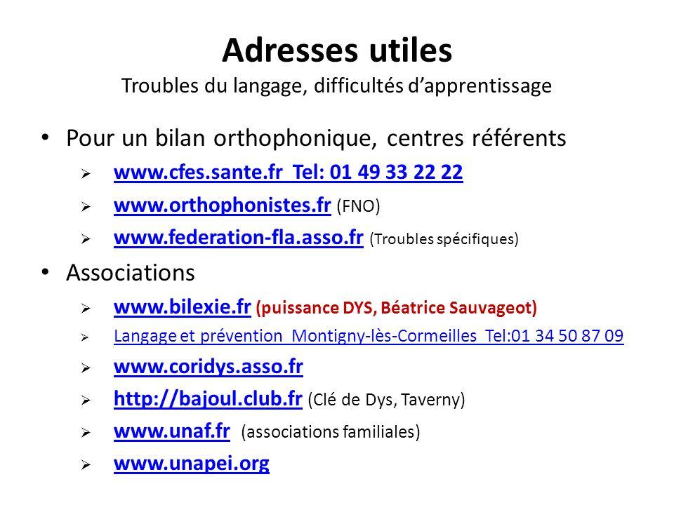 Adresses utiles Troubles du langage, difficultés dapprentissage Pour un bilan orthophonique, centres référents www.cfes.sante.fr Tel: 01 49 33 22 22 w