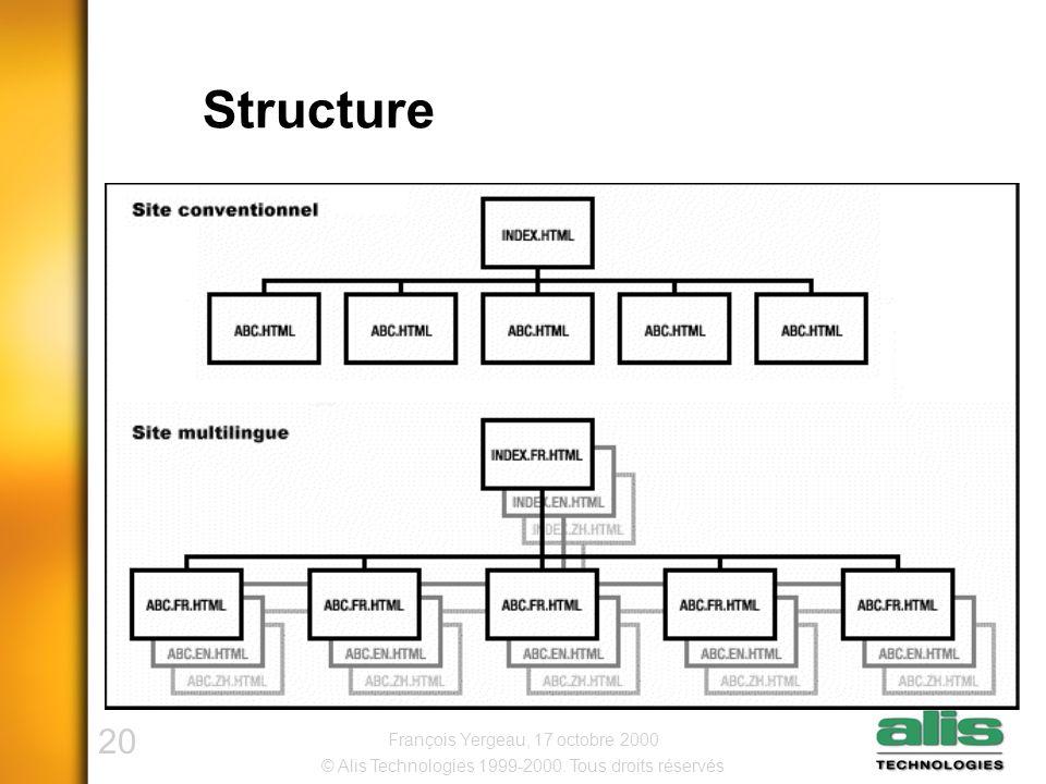 20 © Alis Technologies 1999-2000. Tous droits réservés François Yergeau, 17 octobre 2000 Structure