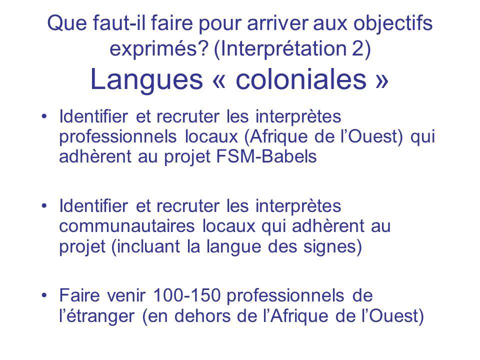 Que faut-il faire pour arriver aux objectifs exprimés? (Interprétation 2) Langues « coloniales » Identifier et recruter les interprètes professionnels