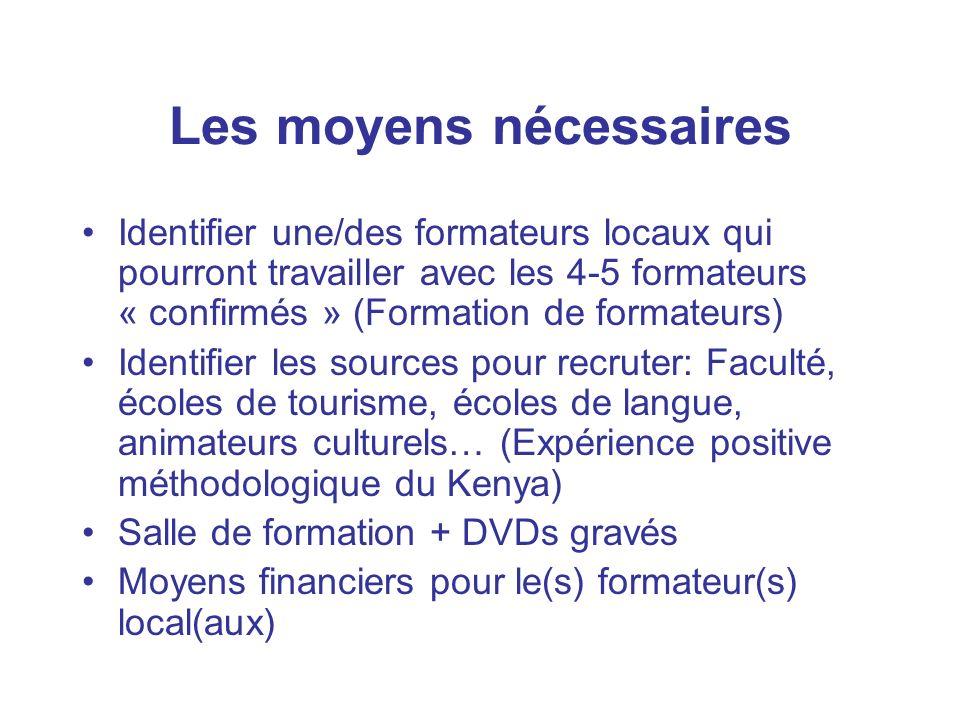 Les moyens nécessaires Identifier une/des formateurs locaux qui pourront travailler avec les 4-5 formateurs « confirmés » (Formation de formateurs) Id