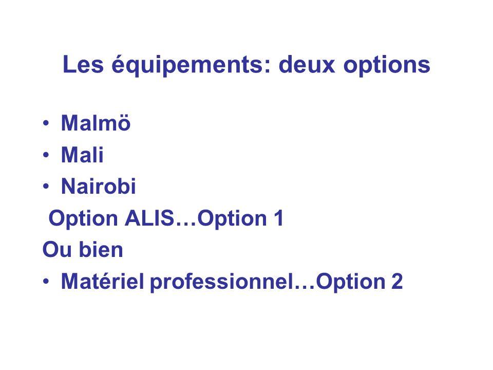 Les équipements: deux options Malmö Mali Nairobi Option ALIS…Option 1 Ou bien Matériel professionnel…Option 2