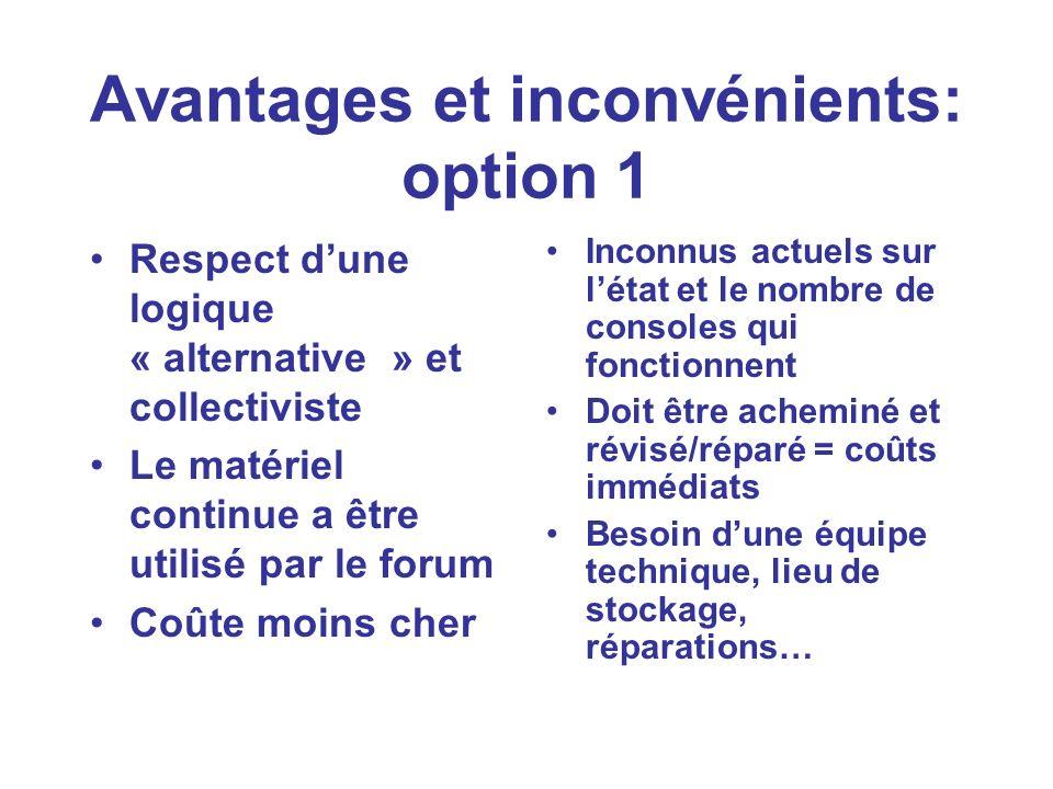 Avantages et inconvénients: option 1 Respect dune logique « alternative » et collectiviste Le matériel continue a être utilisé par le forum Coûte moin