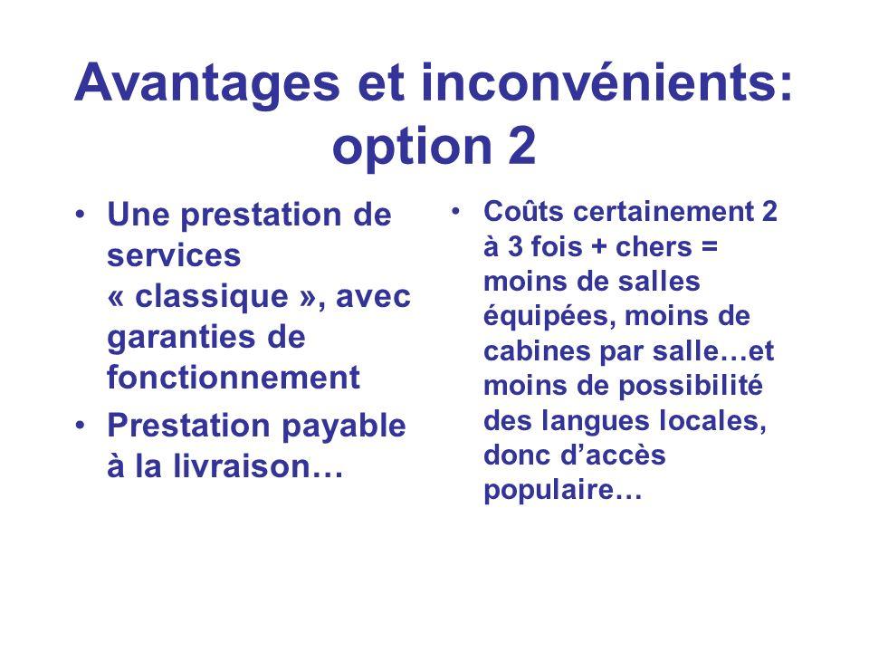 Avantages et inconvénients: option 2 Une prestation de services « classique », avec garanties de fonctionnement Prestation payable à la livraison… Coû