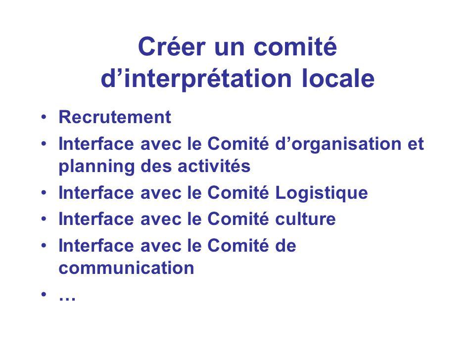 Créer un comité dinterprétation locale Recrutement Interface avec le Comité dorganisation et planning des activités Interface avec le Comité Logistique Interface avec le Comité culture Interface avec le Comité de communication …