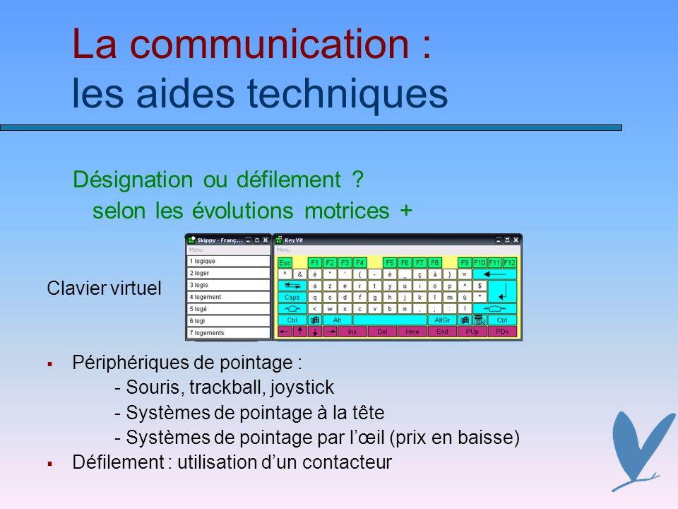La communication : les aides techniques Désignation ou défilement .