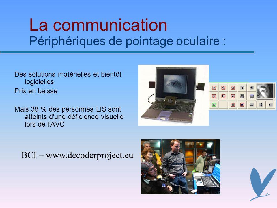La communication Périphériques de pointage oculaire : Des solutions matérielles et bientôt logicielles Prix en baisse Mais 38 % des personnes LIS sont atteints dune déficience visuelle lors de lAVC BCI – www.decoderproject.eu