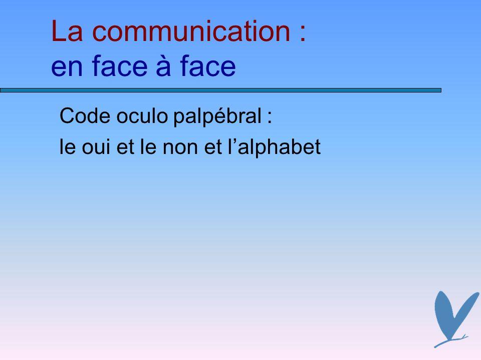 La communication : en face à face Code oculo palpébral : le oui et le non et lalphabet