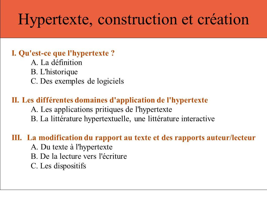 Hypertexte, construction et création I. Qu'est-ce que l'hypertexte ? A. La définition B. L'historique C. Des exemples de logiciels II. Les différentes