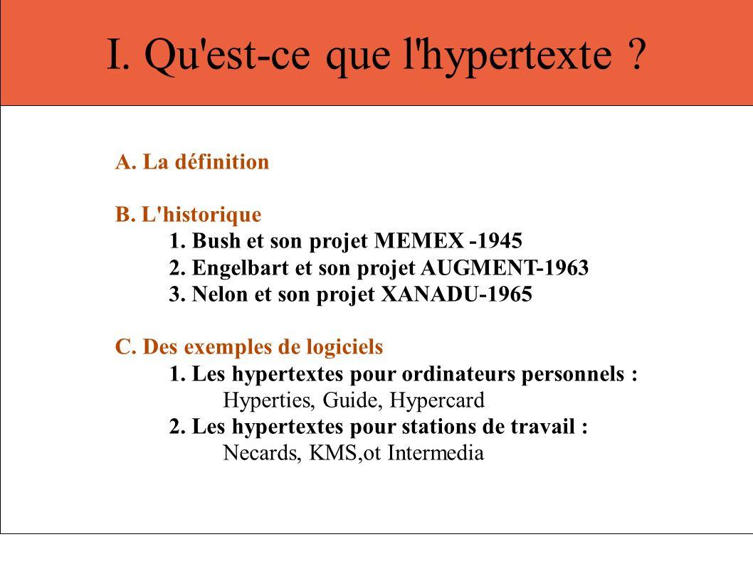 I. Qu'est-ce que l'hypertexte ? A. La définition B. L'historique 1. Bush et son projet MEMEX -1945 2. Engelbart et son projet AUGMENT-1963 3. Nelon et