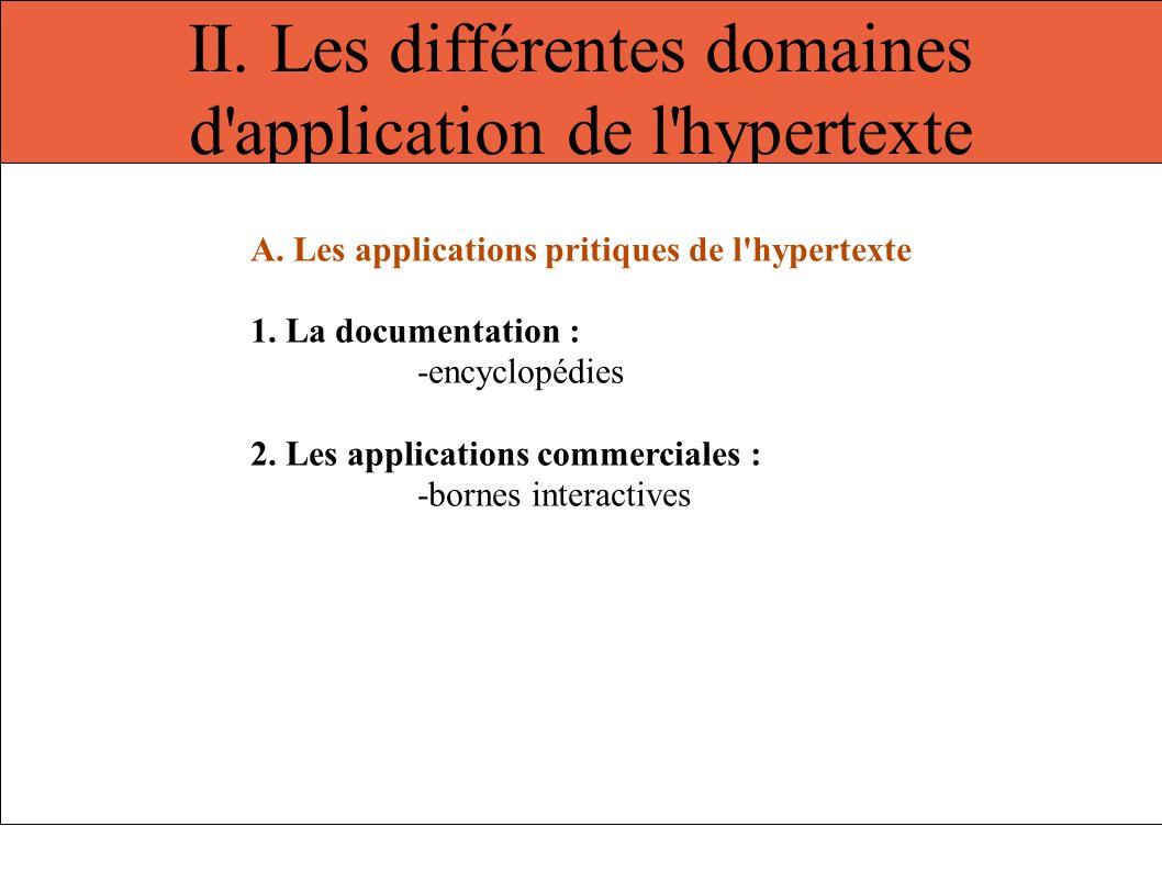 II. Les différentes domaines d'application de l'hypertexte A. Les applications pritiques de l'hypertexte 1. La documentation : -encyclopédies 2. Les a